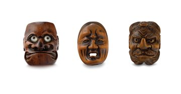 A wood Noh mask netsuke of O-Beshi-Mi, 19th century