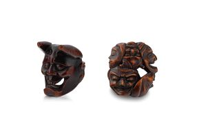 A wood Noh mask netsuke of Hannya, late 18th/early 19th century