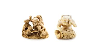 An ivory netsuke of an Oni, 19th century