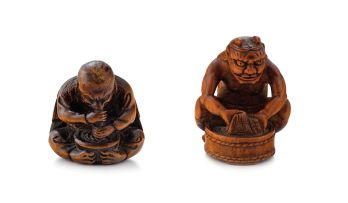 A wood netsuke of a tengu, 19th century