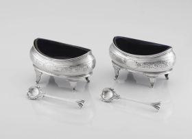 A pair of George III silver boat-shaped salt cellars, Andrew Fogelberg, London, 1804