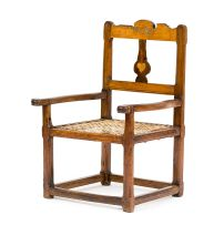 A Cape yellowwood, cedarwood, stinkwood and hardwood inlaid armchair, probably West Coast, second half 18th century