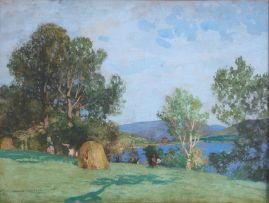 George Houston; Figures by a Lake