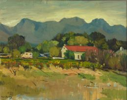 Piet van Heerden; Cape Cottage with Vineyards