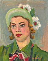 Maggie Laubser; Portrait of a Woman with Green Hat