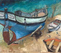 Freida Lock; Fishing Boats on the Beach