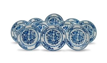 A set of ten Chinese Export blue and white dishes, Qing Dynasty, Qianlong period (1735-1796)