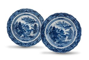 A pair of Chinese Export blue and white dishes, Qing Dynasty, 18th century