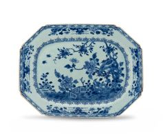 A Chinese Export blue and white rectangular dish, Qing Dynasty, 18th century