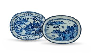 A Chinese Export blue and white oval dish, Qing Dynasty, 18th century