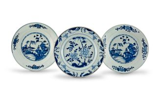 A pair of Chinese Export blue and white plates, Qing Dynasty, 18th century