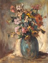 Alexander Rose-Innes; Mixed Flowers in a Blue Vase