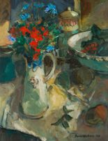 Eben van der Merwe; Still Life with Flowers and Fruit