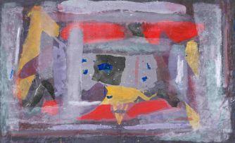 Sam Nhlengethwa; Abstract with Yellow Triangle