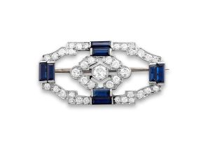 Edwardian sapphire and diamond brooch