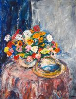 Gerhard Batha; Still Life with Flowers in a Vase and a Hat on a Table