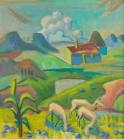 Maggie Laubser; Landscape with Sheep