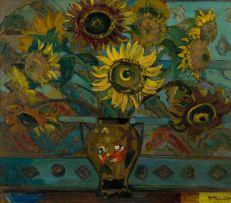 Alice Tennant; Still Life with Sunflowers in a Dutch Vase (recto); Landscape with Flowering Tree (verso)