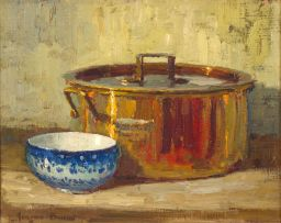 Adriaan Boshoff; Still Life with a Copper Pot and a Blue and White Bowl