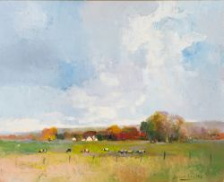 Errol Boyley; Autumn Landscape with Grazing Cattle