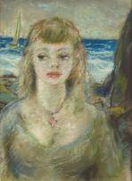 Piet van Heerden; Portrait with Seascape