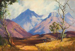 Willem Hermanus Coetzer; Landscape with Distant Peaks