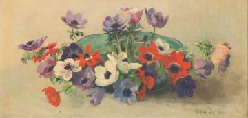 Frans Oerder; Still Life with Bowl of Anemones