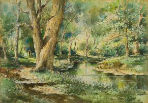 Gabriel de Jongh; Landscape with River and Trees