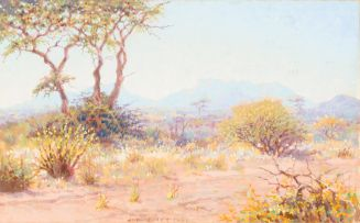 Johannes Blatt; Landscape with Thorn Trees and Distant Mountains