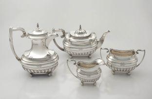 A George V assembled silver tea service, Walker & Hall, Sheffield, 1928 - 1929