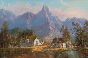 Gabriel de Jongh; Landscape with Cape Dutch Farmhouse