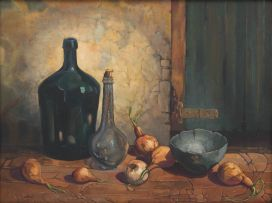 Diamond Bozas; Still Life with Bottles and Onions