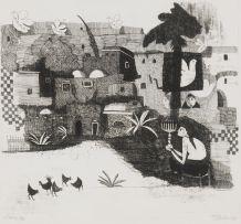 Pieter van der Westhuizen; Village with Figure Holding Menora