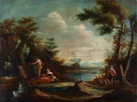In the Manner of Francesco Zuccarelli; Pastoral Landscape with Waterfall