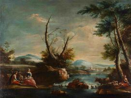 In the Manner of Francesco Zuccarelli; Pastoral Landscape with Distant Spire