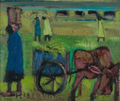 Frans Claerhout; Harvesters with Donkey Cart
