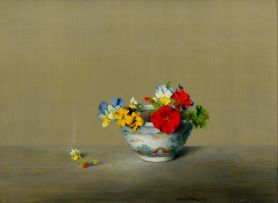 Laurence Biddle; Oriental Bowl with Geraniums, Wallflowers, Pansies (Alpine) Nemesias and Anchusas