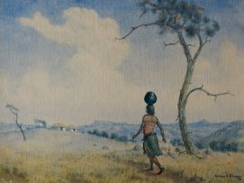 Gerard Bhengu; Woman Carrying Water Pot