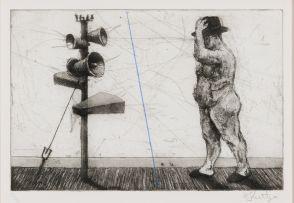 William Kentridge; Man with Megaphone Cluster