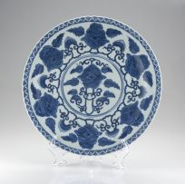 A Chinese blue and white plate, Qing Dynasty, 19th century