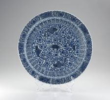 A Chinese blue and white plate, Qing Dynasty, late 19th century