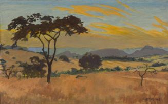 Erich Mayer; Landscape with Foreground Tree