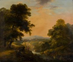 George Armfield; Rural Landscape with Fishermen