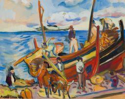 Irma Stern; Fishing Boats on the Beach