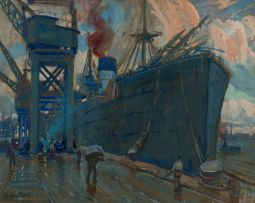 Sydney Carter; Steamship in Harbour