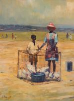 Christopher Tugwell; Children with Caged Chickens
