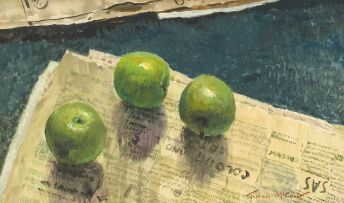 Terence McCaw; Still Life with Apples and Newspaper
