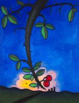 Richard Thompson; Cherry Tree Branch with Sunset