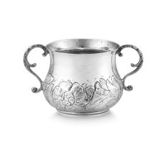 A Charles II silver two-handled porringer, maker's initials RS, London, 1664