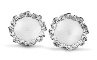 A pair of George II silver waiters, maker's initials WI, possibly William Justis, London, 1756